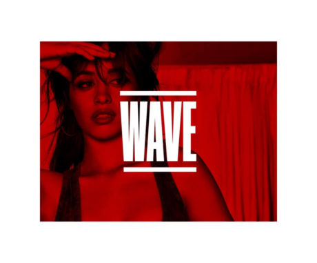 Wave logo on top of red overlay image of Camila Cabello